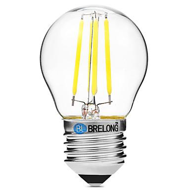 BRELONG® 1pc 4 W 300 lm E27 LED Filament Bulbs G45 4 LED Beads COB Dimmable Warm White / White 200-240 V / 1 pc