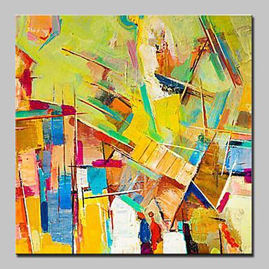 Pintados à mão Abstrato Quadrada, Abstracto Moderno/Contemporâneo Tela de pintura Pintura a Óleo Decoração para casa 1 Painel