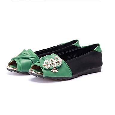 Mulheres Sapatos Tecido Primavera Verão Conforto Rasos Sem Salto Peep Toe Gliter com Brilho para Casual Escritório e Carreira Preto/Verde