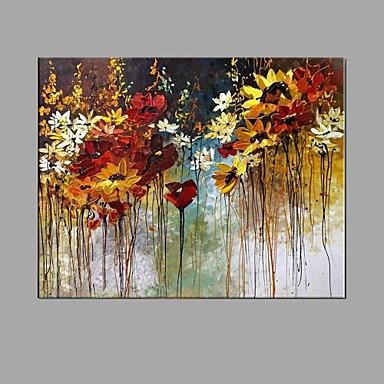 Pintura a Óleo Pintados à mão - Floral / Botânico Abstracto / Moderno / Contemporâneo Tela de pintura / Lona esticada