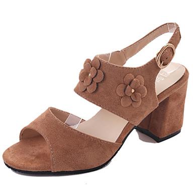 Mulheres Sapatos Couro Ecológico Verão Conforto Sandálias Salto Robusto Preto / Rosa claro / Khaki