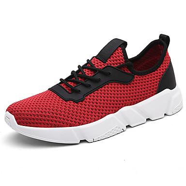 Homens sapatos Tule Primavera Outono Tênis Caminhada Combinação para Preto Cinzento Vermelho