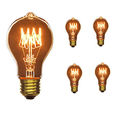 5pcs 40W E26 / E27 A60(A19) Teplá bílá 2300k Retro Stmívatelné Ozdobné Incandescent Vintage Edison žárovka 110-130V