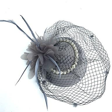 billige Hodeplagg til fest-Tyll Kentucky Derby Hat / fascinators / Hatter med Fjær 1 Fest Hodeplagg