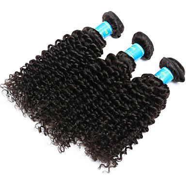 Burmai haj Kinky Curly Emberi haj sző 3 darab Az emberi haj sző