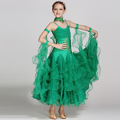 Tanzkleidung für Kinder Kleider Leistung Elasthan / Tüll Applikationen / Kristalle / Strass Ärmellos Normal Kleid / Neckwear / Für den Ballsaal