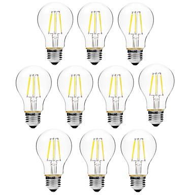 BRELONG® 10pçs 6W 450lm E27 Lâmpadas de Filamento de LED A60(A19) 6 Contas LED COB Regulável Branco Quente Branco 200-240V