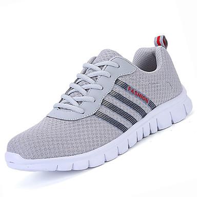 Miesten kengät PU Kevät Kesä Comfort Urheilukengät Kävely varten Kausaliteetti Musta Harmaa Sininen