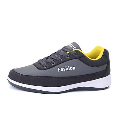 Homens sapatos Couro Ecológico Primavera / Outono Conforto Tênis Caminhada Preto / Azul Marinho / Cinzento Escuro