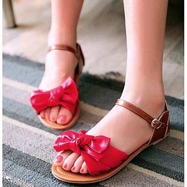 Naiset Sandaalit Comfort PU Kevät Päivittäin Comfort Valkoinen Punainen Vihreä Tasapohja