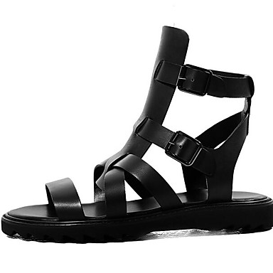 Pánské Sandály Nappa Leather Kůže Jaro Černá Plochý