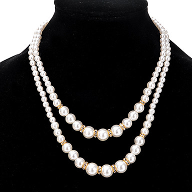Women's Pearl Strands Necklace - Imitation Pearl Ladies, Double-layer, Fashion, Euramerican Gold, Silver Necklace Jewelry For Wedding