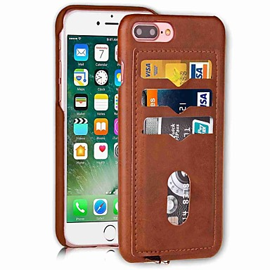 Capinha Para Apple iPhone X iPhone 8 Porta-Cartão Capa traseira Côr Sólida Rígida PU Leather para iPhone X iPhone 8 Plus iPhone 8 iPhone