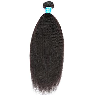 1 Bundle Malaysian Hair kinky Straight Remy Human Hair Natural Color Hair Weaves 8-30 inch Human Hair Weaves Human Hair Extensions Women's