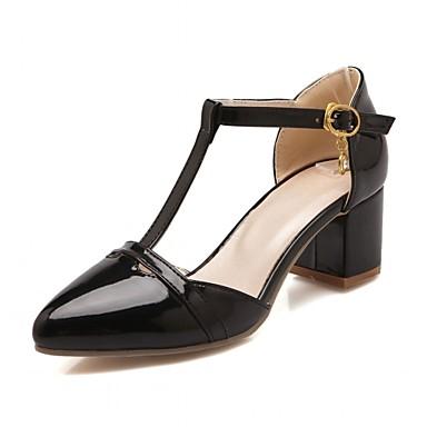 Mulheres Sapatos Courino / Couro Ecológico Primavera / Verão Conforto / Inovador Saltos Caminhada Salto Robusto Ponta Redonda Pedrarias