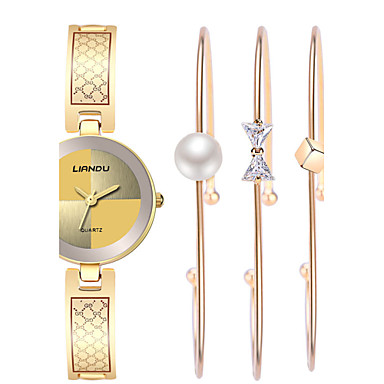 Mujer Reloj Pulsera / Reloj de Pulsera Resistente al Agua / Resistente a los Golpes / Cool Acero Inoxidable Banda Vintage / Casual / Bohemio Dorado
