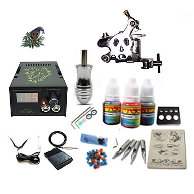 Tattoo Machine Starter Sæt - 1 pcs Tattoo Maskiner med 1 x 5 ml tatoveringsfarver, Professionel LCD strømforsyning No case 1 x damascus