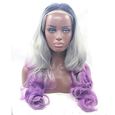 Cabelo Sintético perucas Ondulado Cabelo Ombre Frente de Malha Peruca para Cosplay Médio Longo Roxo Branco Preta