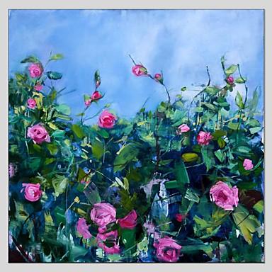 Pintados à mão Floral/Botânico Quadrada, Abstracto Tela de pintura Pintura a Óleo Decoração para casa 1 Painel