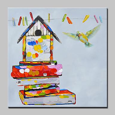 Maalattu Pop Art Neliö, Moderni/nykyaikainen Kangas Hang-Painted öljymaalaus Kodinsisustus 1 paneeli