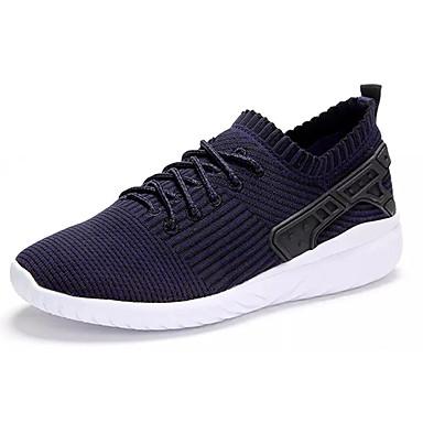 Homens sapatos Tule Primavera/Outono Conforto Tênis Corrida Cadarço para Ao ar livre Preto Azul Escuro Vermelho