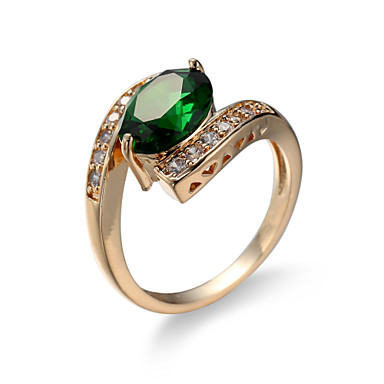 Women's Synthetic Emerald Ring - Zircon, Emerald, Alloy Unique Design, Fashion, Euramerican 6 / 7 / 8 Green For Wedding / Special Occasion / Anniversary