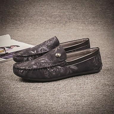 Miehet Oxford-kengät Comfort Kevät PU Kausaliteetti Tasapohja Musta Punainen Sininen Tasapohja