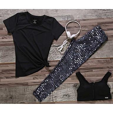 Damen Trainingsanzug Rasche Trocknung Kleidungs-Sets für Yoga Rennen Übung & Fitness Schwimmen Baumwolle Schlank Schwarz Violett S M L
