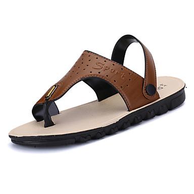 Homens sapatos Couro Ecológico Primavera Outono Conforto Sandálias para Casual Castanho Claro Castanho Escuro