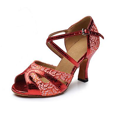 Mulheres Sapatos de Dança Latina Courino Sandália / Têni Lantejoulas Salto Robusto Não Personalizável Sapatos de Dança Dourado / Vermelho