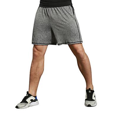 Homens Shorts de Corrida / Shorts de Corrida com Fenda - Preto, Cinzento Esportes Sólido Elastano Shorts / Calças Exercício e Atividade Física, Corrida, Fitness Roupas Esportivas Fitness, Corrida e