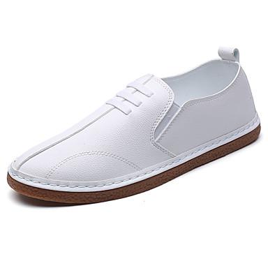 Homens sapatos Couro Ecológico Primavera Outono Conforto Mocassins e Slip-Ons Caminhada Elástico para Casual Branco Preto