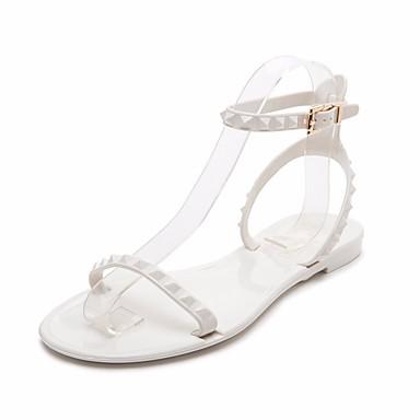 Dámské Boty PU Jaro Pohodlné Sandály Pro Ležérní Bílá Černá