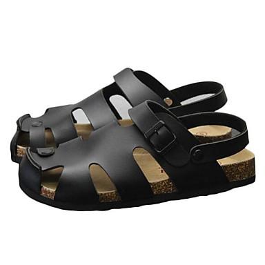 Miehet kengät Nupukkinahka Kevät Comfort Sandaalit varten Kausaliteetti Valkoinen Musta Vaalea vaaleanpunainen