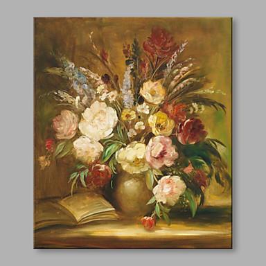 Maalattu Kukkakuvio/Kasvitiede Pysty, Taiteellinen Kukka Retro Kangas Hang-Painted öljymaalaus Kodinsisustus 1 paneeli