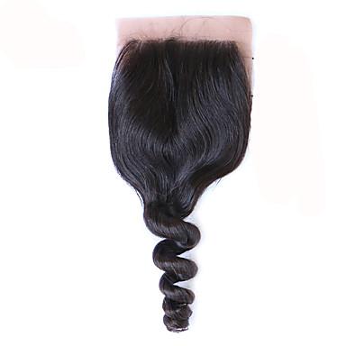Freies Teil / mittlerer Teil silk Unterseitenverschluss lose Welle menschliches Haar brasilianisches remy Haar 3.5x4 silk Schließung lose