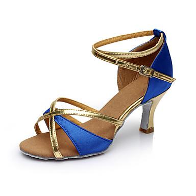 Damen Latin Satin Sandalen Innen Maßgefertigter Absatz Blau Maßfertigung