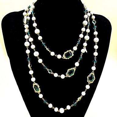 Naisten Säikeet Kaulakorut layered Kaulakorut Synteettinen Emerald Korut Smaragdi Metalliseos Muoti Euramerican minimalistisesta Korut