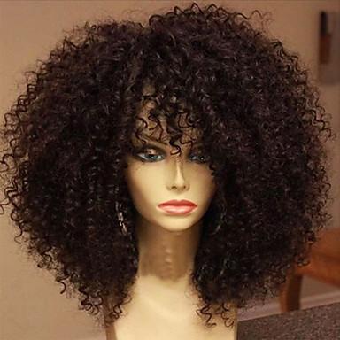 Echthaar Spitzenfront Perücke Locken 180% Dichte 100 % von Hand geknüpft Afro-amerikanische Perücke Natürlicher Haaransatz Medium Damen