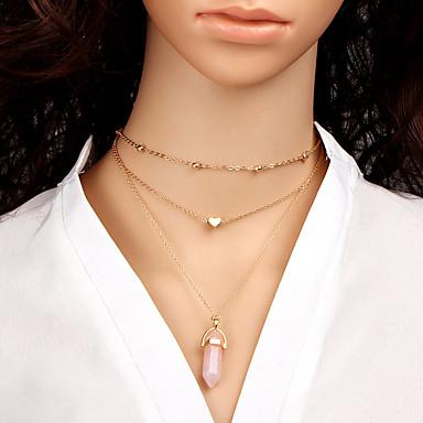 Mulheres Geométrica colares em camadas - Coração Fashion, Euramerican Rosa claro, Azul Claro, Verde Claro Colar Para Diário