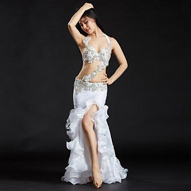Dança do Ventre Roupa Mulheres Espetáculo Poliéster Lantejoulas Cristal / Strass Sem Manga Caído Saias Sutiã Cinto