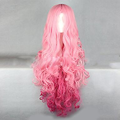 Perucas sintéticas Ondulado Rosa Cabelo Sintético Cabelo Ombre Rosa Peruca Mulheres Muito longo Sem Touca Rosa + Vermelho hairjoy