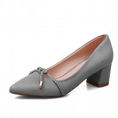 Mulheres Sapatos Sintético Primavera Outono Conforto Inovador Saltos Caminhada Salto Robusto Dedo Apontado Poa para Social Preto Cinzento