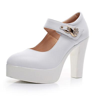 Mulheres Sapatos Couro Primavera Outono Sapatos formais Saltos Salto Robusto Dedo Apontado para Escritório e Carreira Branco Preto