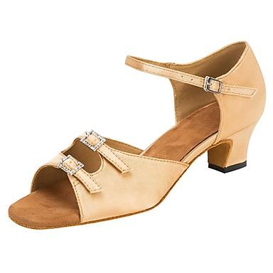baratos Sapatos de Samba-Mulheres Cetim Sapatos de Dança Latina Pedrarias / Presilha Sandália / Salto Salto Personalizado Personalizável Amêndoa / Profissional / EU39