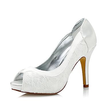 Mulheres Sapatos Seda Primavera / Outono Conforto / Sapatos clube / Sapatos Dyeable Saltos Salto Agulha Ponta Redonda / Peep Toe / Dedo