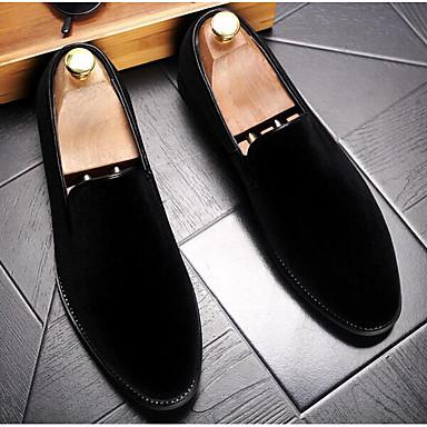 Miehet kengät Mokkanahka Kevät Comfort Mokkasiinit Käyttötarkoitus Kausaliteetti Musta Vihreä Burgundi