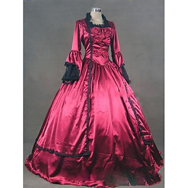 Rokoko / Viktorianisch Kostüm Damen Kleid / Party Kostüme / Maskerade Fuchsia Vintage Cosplay Satin / Other Langarm Kappe Boden-Länge