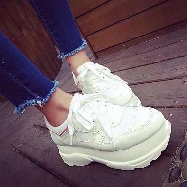 Damen Schuhe PU Frühling Herbst Komfort Loafers & Slip-Ons Creepers für Normal Weiß Schwarz