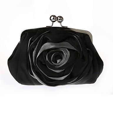 Mulheres Bolsas Chifon / Seda Bolsa de Mão Cristal / Strass / Flor Sólido Branco / Preto / Vermelho